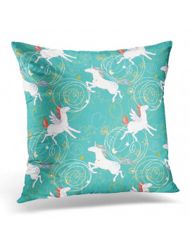 ARHOME Patterns with Unicorns Pegasus Pony Dream with Cute Magic Collection with Rainbow Fairy Wings Stars Pillow Case Pillow Cover 20x20 inch