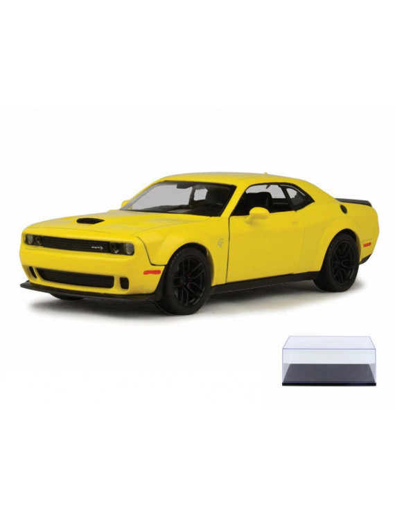 Diecast Car & Display Case Package - 2018 Dodge Challenger SRT Hellcat Widebody, Bright Yellow - Motor Max 79350YL - 1/24 Scale Diecast Model Toy Car w/Display Case