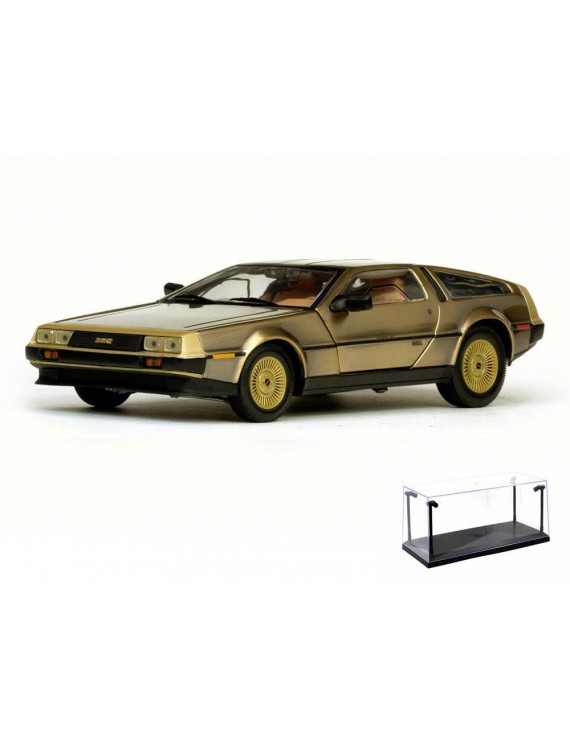 Diecast Car & LED Display Case Package - 1981 De Lorean DMC-12 Coupe, Gold - Sun Star 2702 - 1/18 Scale Diecast Model Toy Car w/LED Display Case