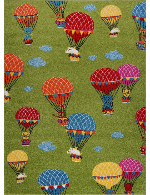 Green Colorfull Soft Cute Area rug Carpet Mat with Baloons Parachute Animals Cartoon For Kids Little Girl Boy Room Nursery Size 5'3″x7'3″ feet (160×220 cm) and 4x5, 5x7, 7x9, 8x10
