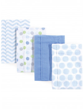 Luvable Friends Basics Baby Boy and Girl Flannel Burp Cloth, 4-Pack, Blue