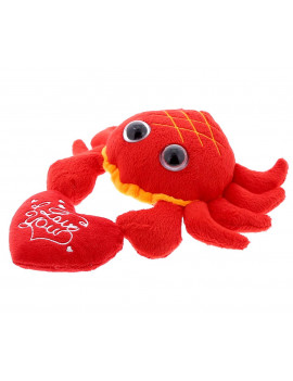 super soft plush dollibu red crab big eye i love you valentines plush