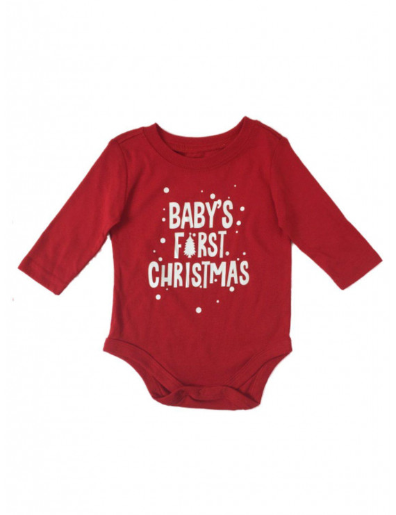 Infant Boys Red & White Holiday Baby's First Christmas Long Sleeve Bodysuit