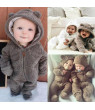 Pudcoco Infant Baby Girl Boy Fuzzy Hooded Romper Bodysuit Winter Outfit