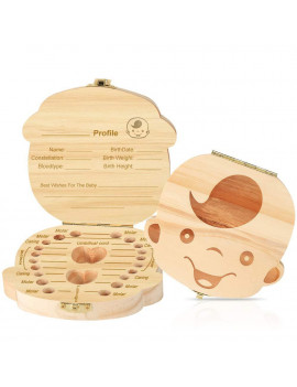 2 Pack of Baby Teeth Box - Milk Teeth Box Wooden Tooth Storage Box Organizer For Kids - Baby Boy Tooth Box Baby Girl Tooth Box