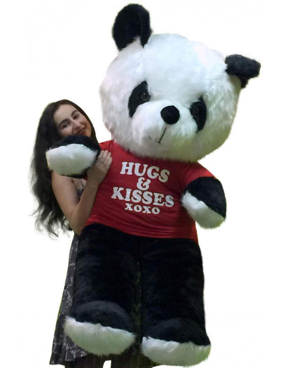 American Made Giant Stuffed Panda 54 Inch Soft Teddybear Wears HUGS AND KISSES Tshirt
