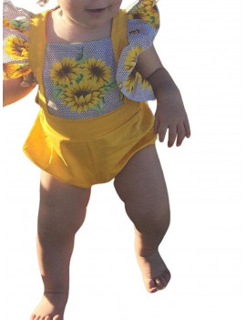 2PCs Set Newborn Infant Baby Girls Floral Romper Sunflower Bodysuit with Headbands Clothes Outfits
