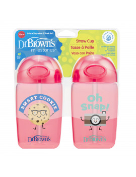 Dr. Brown's Milestones Straw Cup with Lid, 12 Ounce, Pink, 2 Count