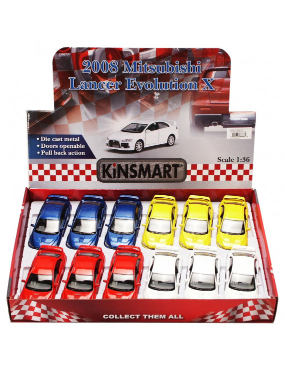 2008 Mitsubishi Lancer Evolution X Diecast Car Package - Box of 12 1/36 scale Diecast Model Cars, Assorted Colors