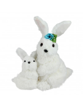 "10"" White Plush Standing Mother and Baby Easter Bunny Rabbit Spring Figure"