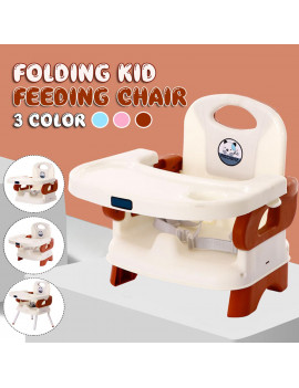 Adjustable Baby High Chair Infant Toddler Feeding Booster Seat Folding, Baby Toddler Folding High Chair Recline Feeding Highchair Height Adjustable Seat - Blue