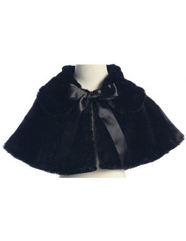 Baby Girl's Soft Faux Fur Cape with Satin Tie in Black Infant L (12-18 months)