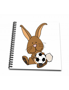 3dRose Funny Cool Brown Bunny Rabbit Playing Soccer Cartoon - Mini Notepad, 4 by 4-inch