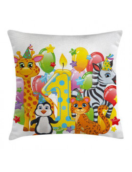 Ambesonne Colorful Safari Animal Birthday Square Pillow Cover