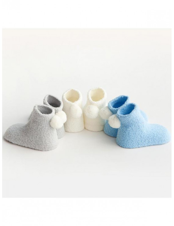 Topumt 3Pairs Newborn Baby Boy Girl Thick Warm Socks Autumn Winter Kid Coral Velvet Small Ball Socks Cute