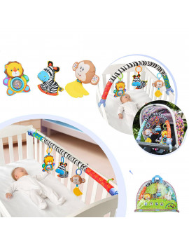 2 in1 Baby Crib Mobiles Bed Stroller Carriage Bar Hanging Toys Newborn Infant Soft Animal Rattles Handbell
