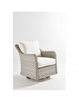 "34"" Gray Synthetic Wicker Mayfair Swivel Glider with Brown Cushion"
