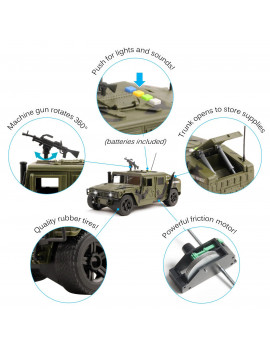 Vokodo Military Humvee Truck Friction Powered With Lights And Sounds Kids Push And Go 1:16 Scale Pretend Play Armored Army Vehicle