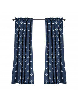Anchor Room Darkening Window Curtain Panels in Navy, Set of 2