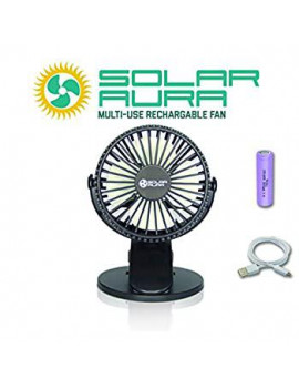 - Clip on Rechargeable Mini Desk and Stroller Solar Fan (Black)