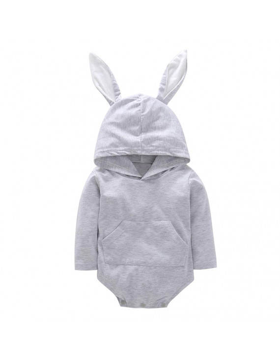 Newborn Baby Cute Jumpsuit with Rabbit Ears Long Sleeve Unisex Lovely Hooded Romper gray 70cm