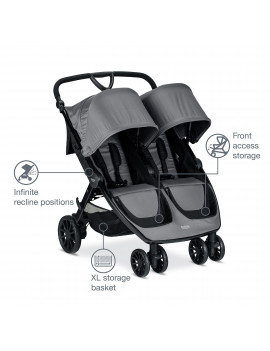 Britax B-Lively Double Stroller, Dove