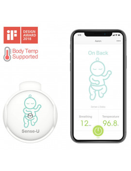 (2020 New Model) Sense-U Baby Monitor with Breathing Rollover Movement Body Temperature Sensors: Track Your Baby's Breathing, Rollover, Body Temperature with New Clasp Design (Body Temperature)