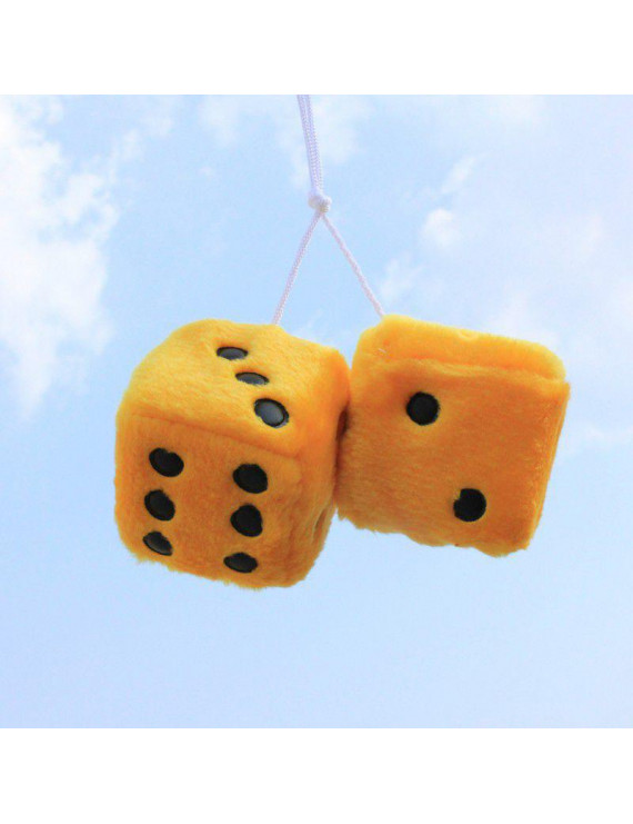 SUPERHOMUSE Colorful Plush Dice Craps JDM Rearview Mirror Car Pendant Charms Ornaments Hanging Suspension Car Styling