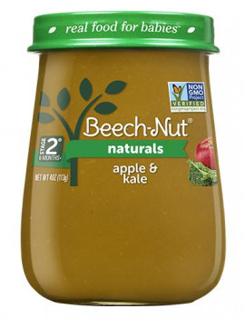 (10 Jars) Beech-Nut Naturals Baby Food Jar, Stage 2, Apple & Kale, 4 oz