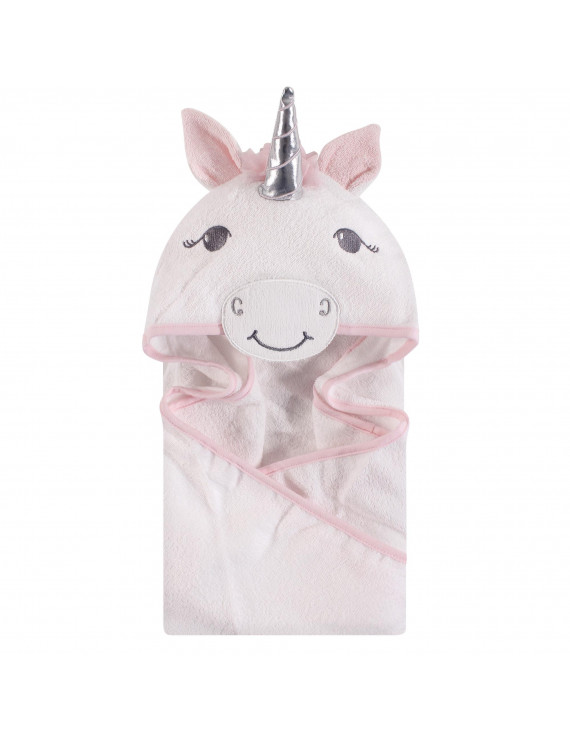 Hudson Baby Animal Face Hooded Towel, White Unicorn