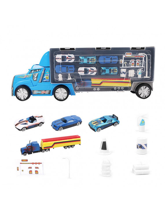 Transport Car Carrier Truck Toy Trailer with 6 Racing Cars & Fire Extinguisher Toy Roadblock Oil Station Set with Portable Handle for Boys Kids Children