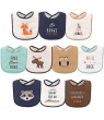 Hudson Baby Boy and Girl Drooler Bib, 10-Pack - Raccoon