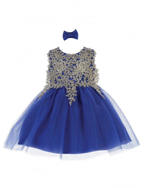 Tip Top Kids Baby Girls Royal Blue Lace Applique Tulle Pageant Dress