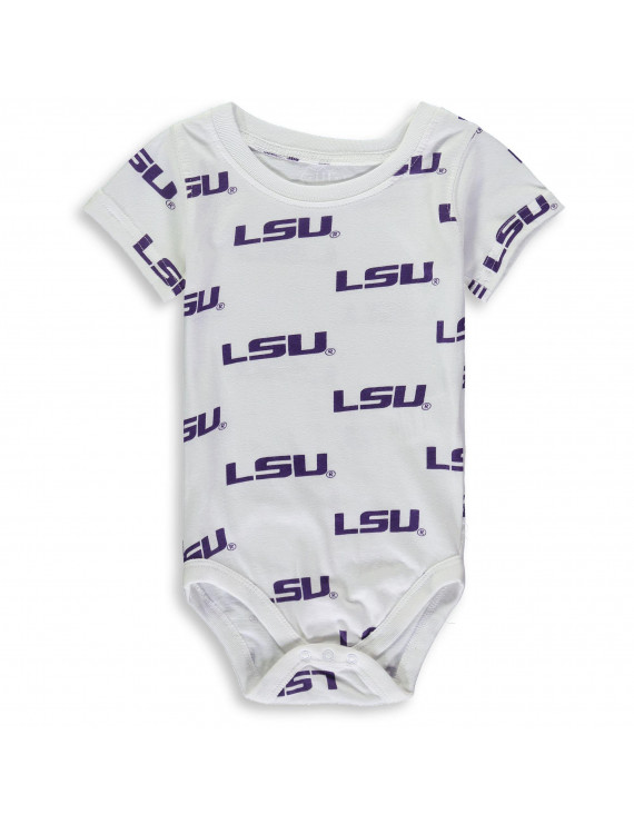LSU Tigers Wes & Willy Infant All Over Print Bodysuit - White