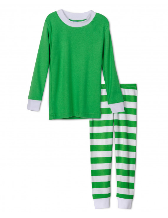Sara's Prints Kids Pajamas Boys and Girls Long Sleeve Top and Lounge Pants Sleepwear Set, Green, Size: 3T