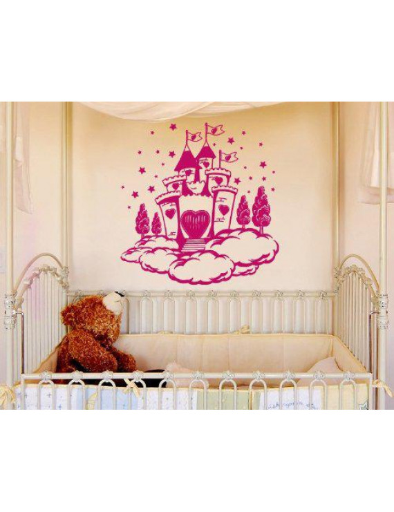 Princess Dream Castle in the Clouds Wall Decal - nursery wall decal, sticker, mural vinyl art home decor - 3937 - Gray, 47in x 48in