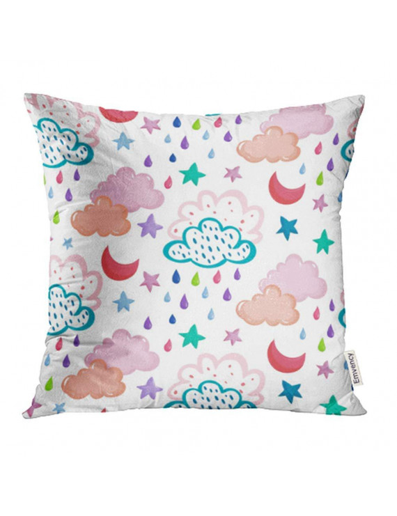 ARHOME Hand Drawing Pattern with Clouds Stars Moons Raindrops on White in Kids Style Pillowcase Cushion Cases 18x18 inch