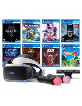 PlayStation VR 11-In-1 Deluxe 8 Games Bundle: VR Headset, Camera, Move Motion Controllers, Skyrim, Batman, DOOM VFR, Battlezone, RIGS, Until Dawn, Blood & Truth, Everybody's Golf