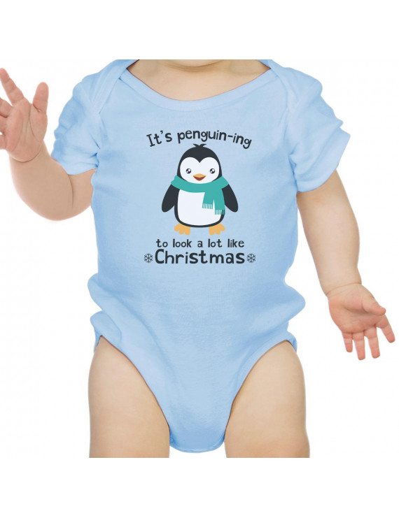 It's Penguin-Ing Funny Baby Girl Bodysuit Blue First Gifts