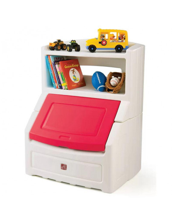 """Step2 Lift & Hide 38"""" Bookcase with Kids Storage Bin and Toy Organizer, Red"""