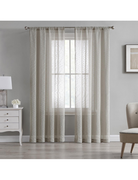 """84"""" Sheer Tan Beige Textured 2-Panel Window Curtains Rod Pocket Drapes for Bedroom, Living Room, and Dining Room"""
