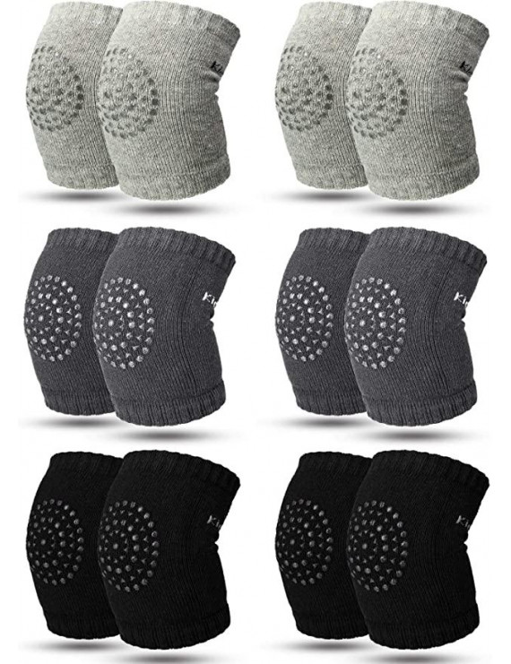 6 Pairs Unisex Baby Infant Toddler Knee Pads for Crawling Soft Elastic Knee Elbow Brace Pads Cap Anti-slip Crawling Safety Protector Cushion Leg Sleeve Warmers