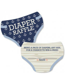 Ahoy - Nautical - Diaper Shaped Raffle Ticket Inserts - Baby Shower Activities - Diaper Raffle Game - Set of 24