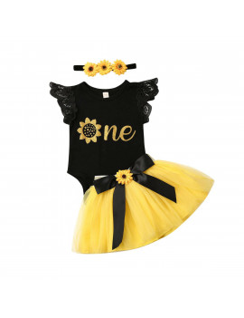 Newborn Baby Girl My 1st Birthday Floral Romper Tutu Tulle Skirt Outfits Clothes