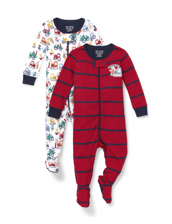 The Children's Place Baby & Toddler Boy Long Sleeve Stretchie Pajamas 2-Piece Set