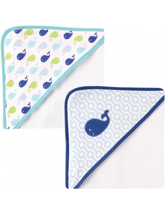 Luvable Friends Baby Hooded Towel Blue, 2 Pack