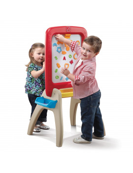 Step2 All Around Red Easel for Two, Chalkboard and Dry-Erase Board, Includes 94 Magnetic Pieces