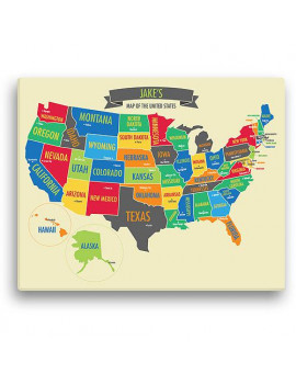 "Personalized Boy's 16"" x 20"" US Map Canvas"