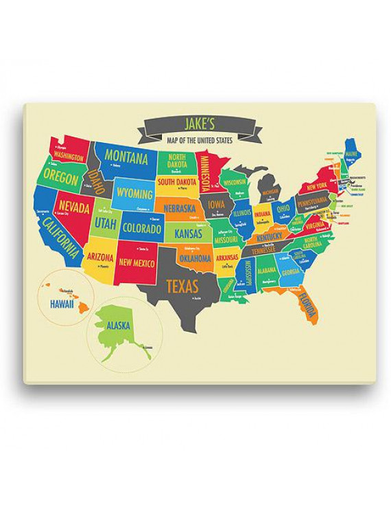 """Personalized Boy's 16"""" x 20"""" US Map Canvas"""