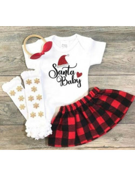 Boutique My 1st Christmas Baby Girl Tops Plaid Tutu Dress Xmas Outfit Set